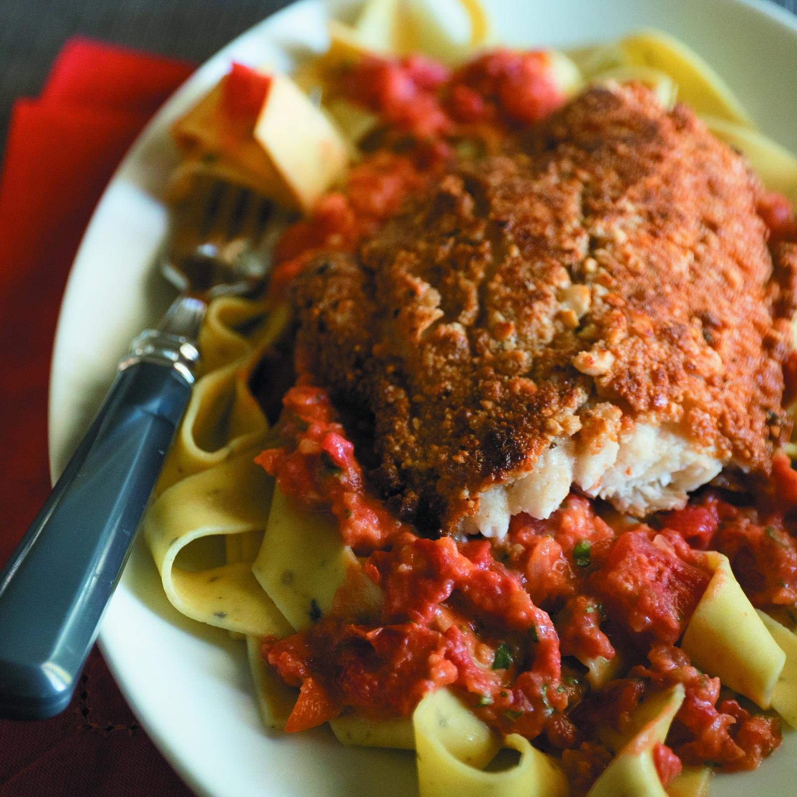 Cashew Crusted Catfish with Tomato Basil Cream -