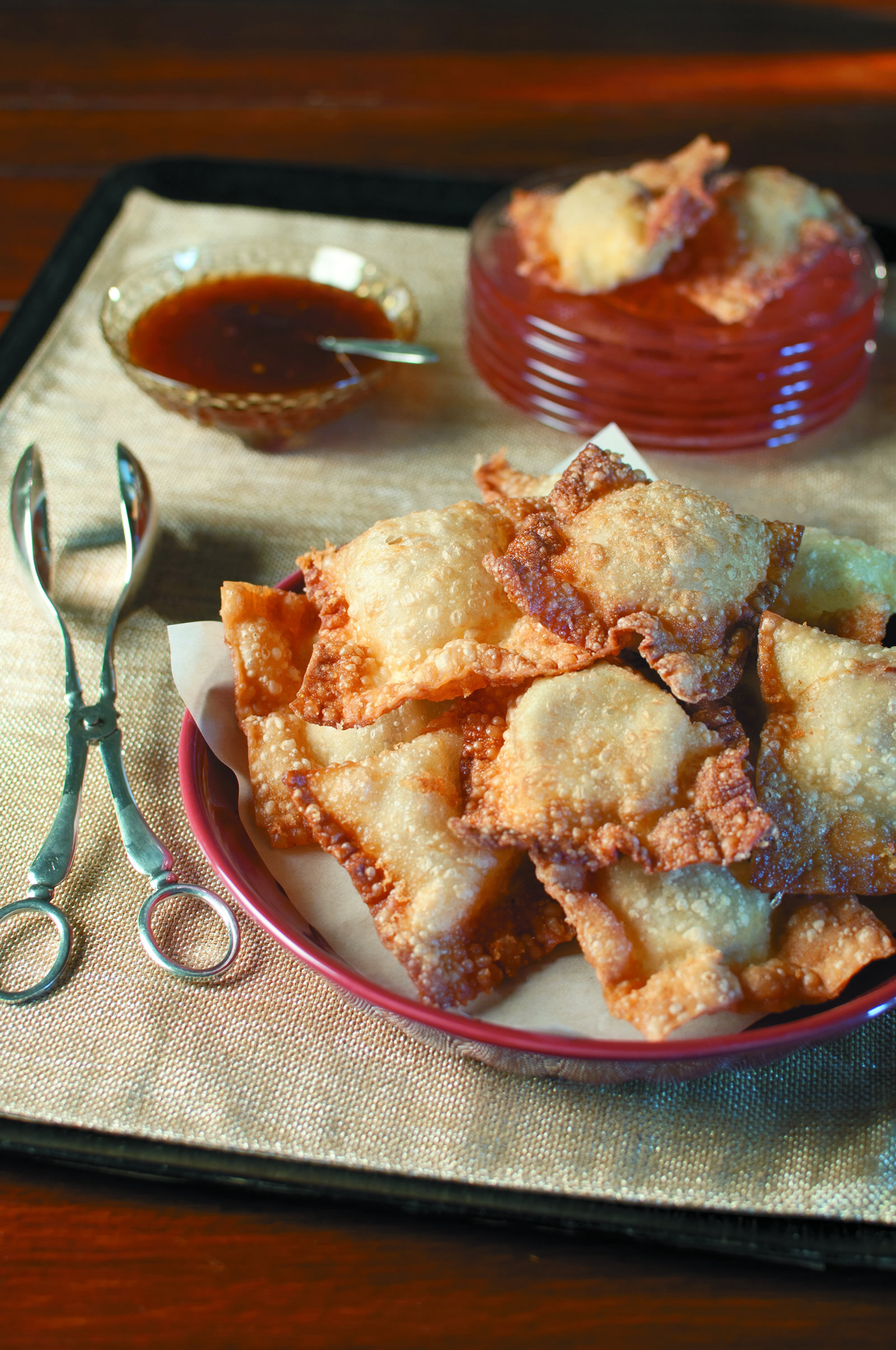 Catfish Wontons with Andouille Sausage -