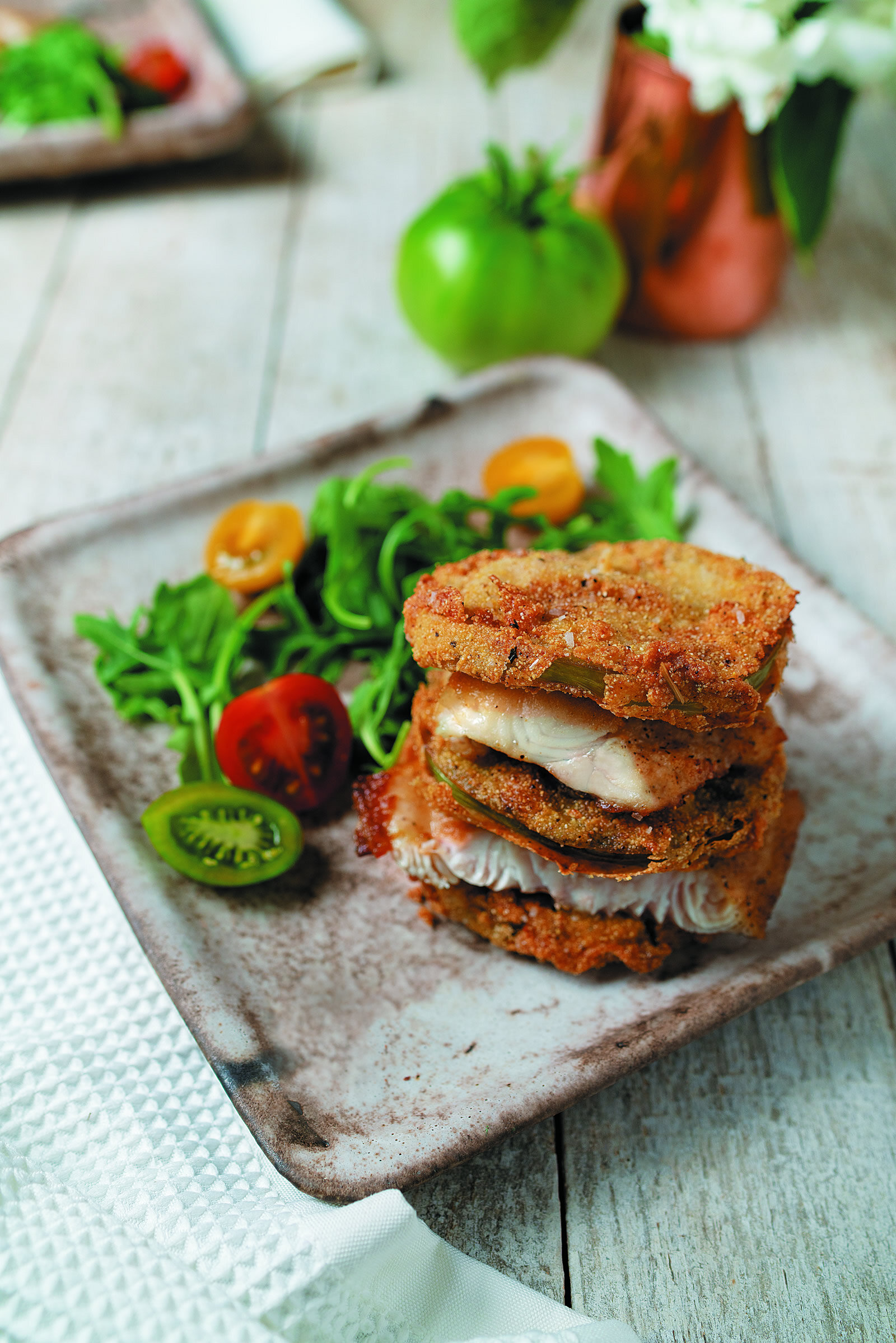 Catfish Napoleon with Fried Green Tomatoes -