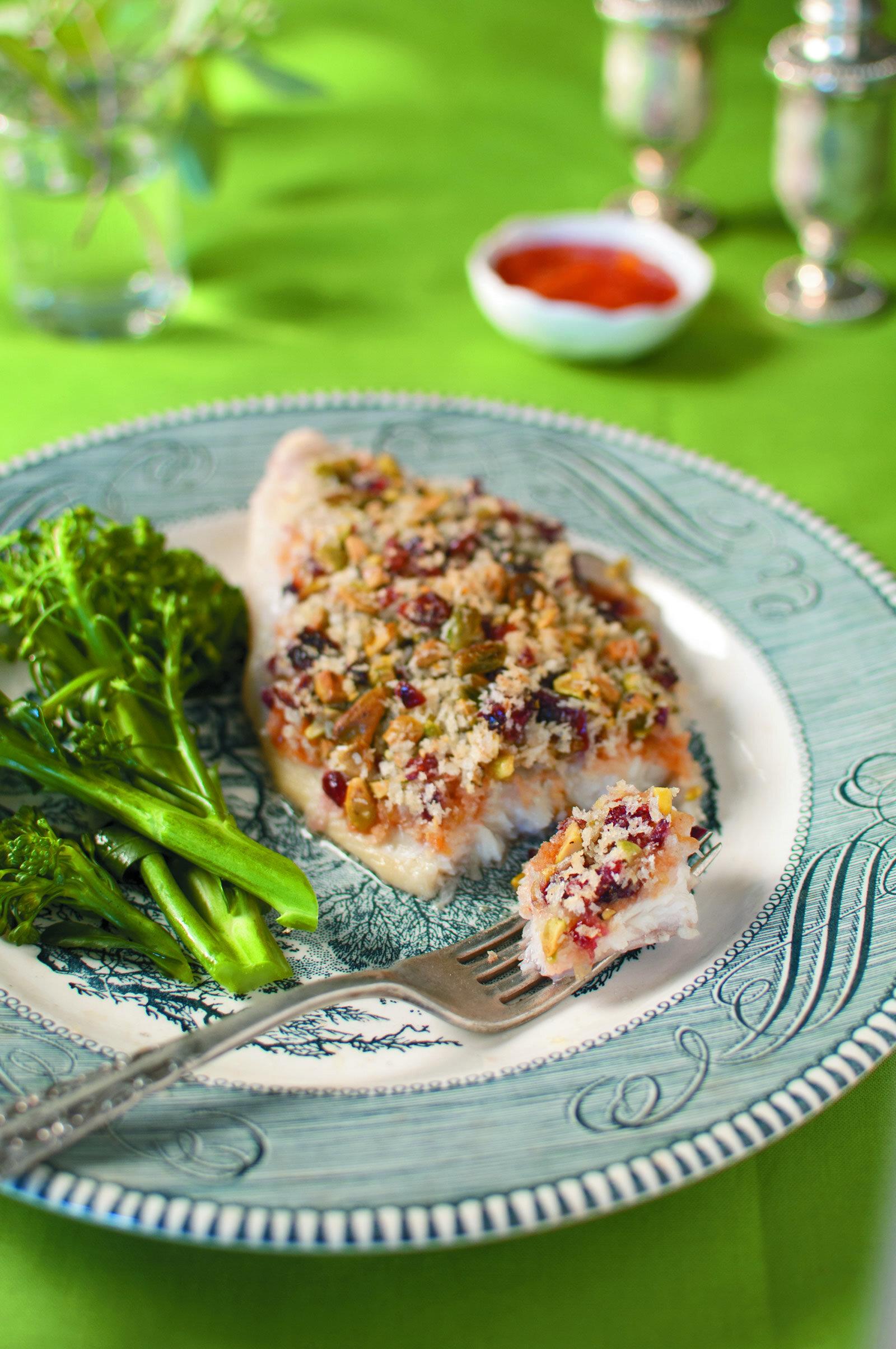 Pistachio Crunch Catfish with Mango Salsa -
