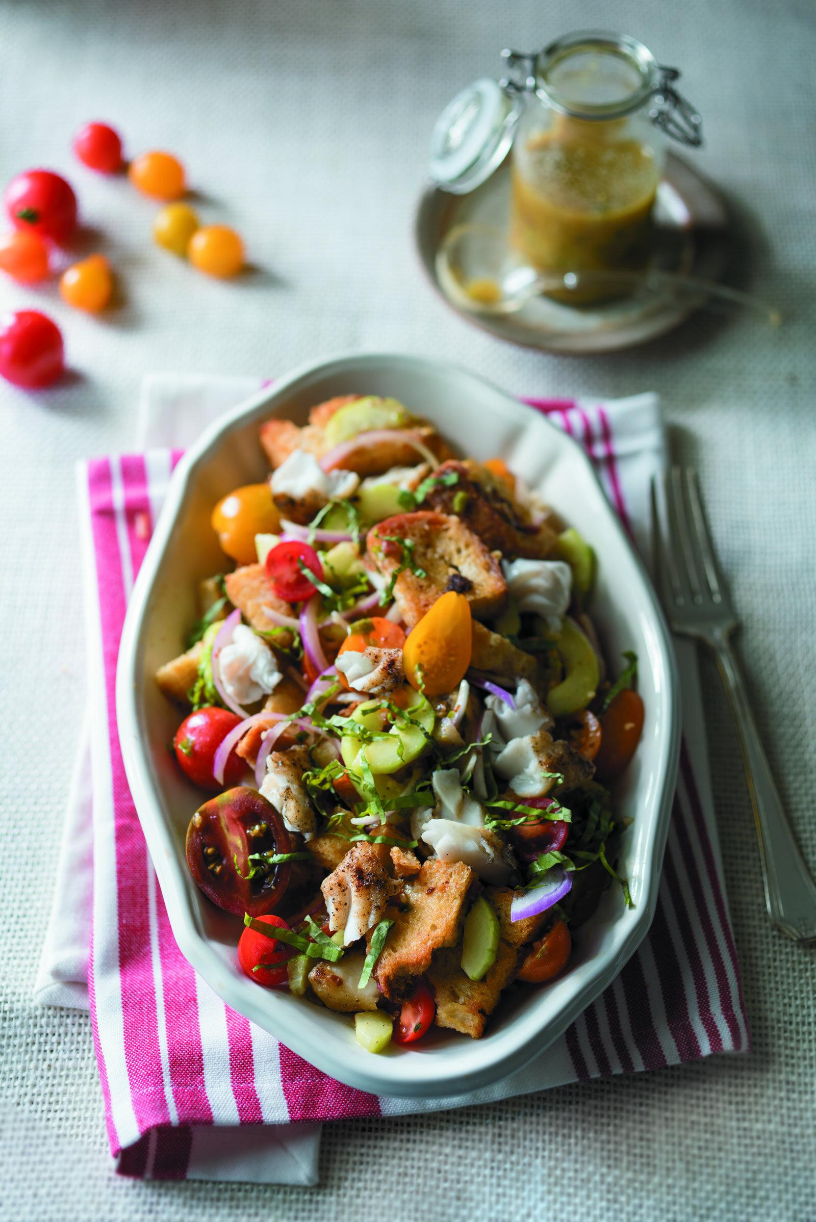Grilled Catfish Panzanella Salad with Tasso Vinaigrette -