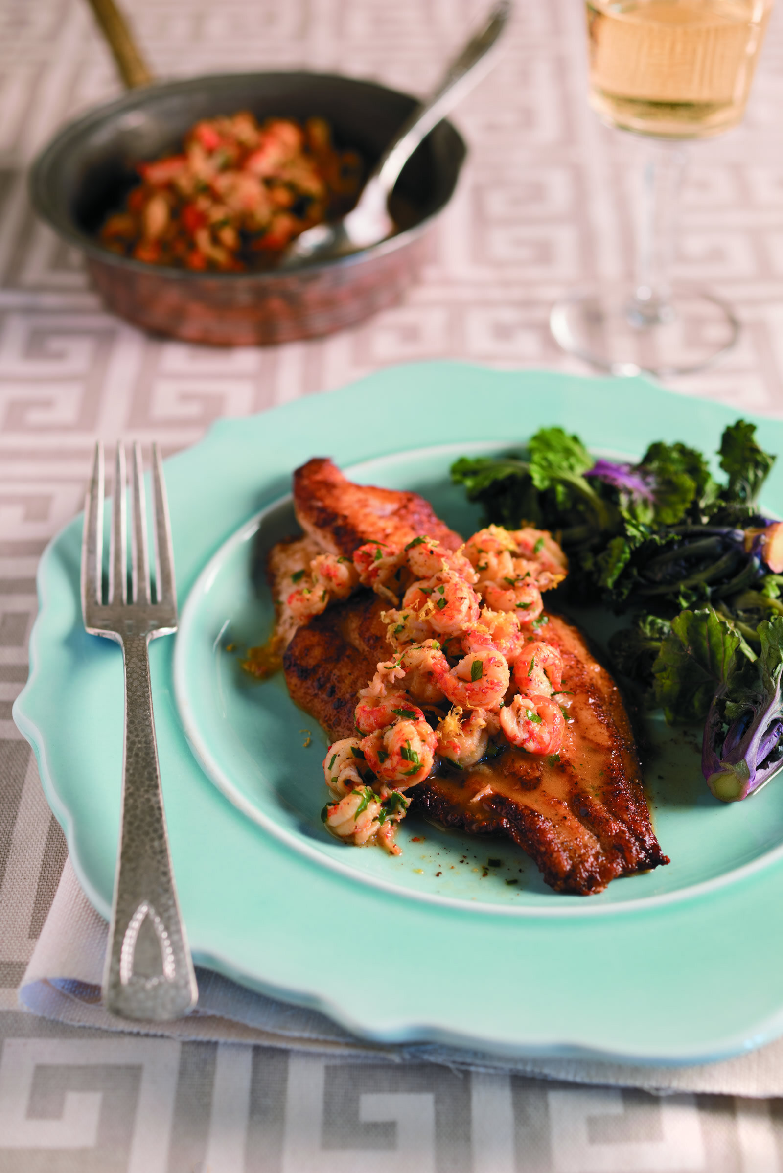 Pan-Seared Catfish with Crawfish Tails and Browned Butter -