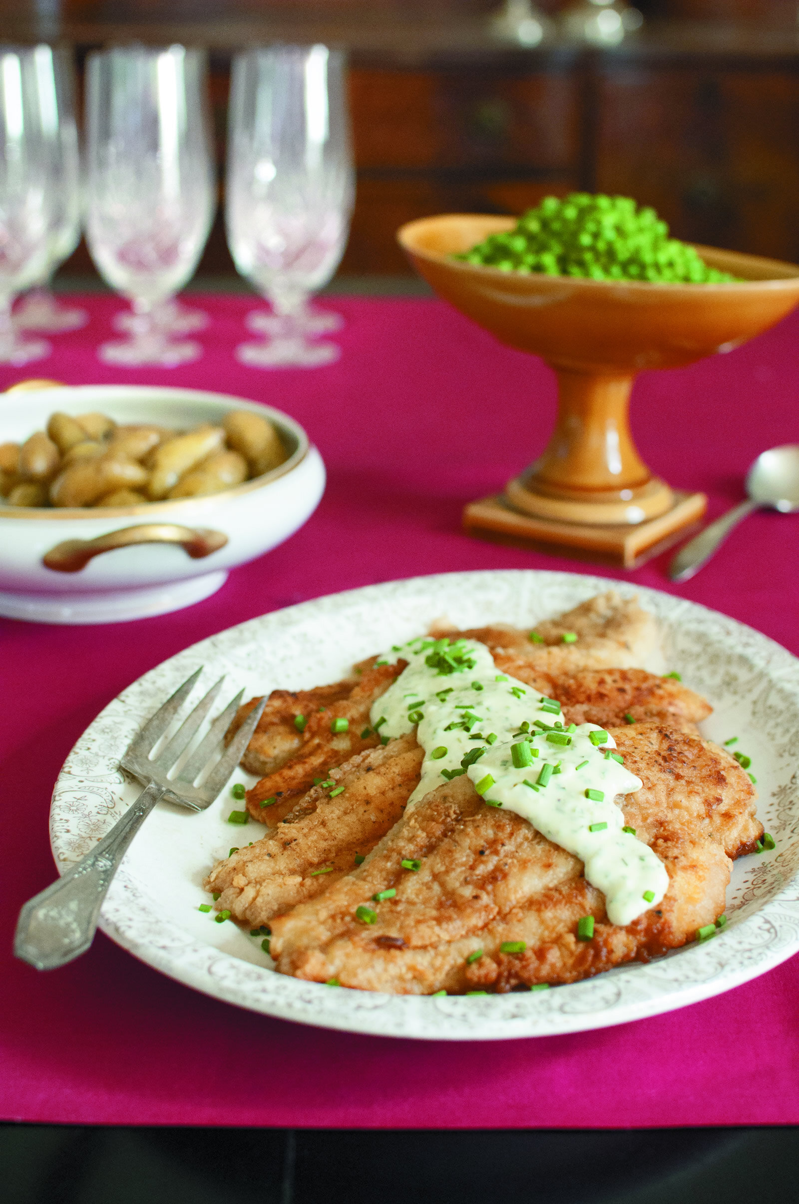 Sautéed Catfish with Chive Cream Sauce -