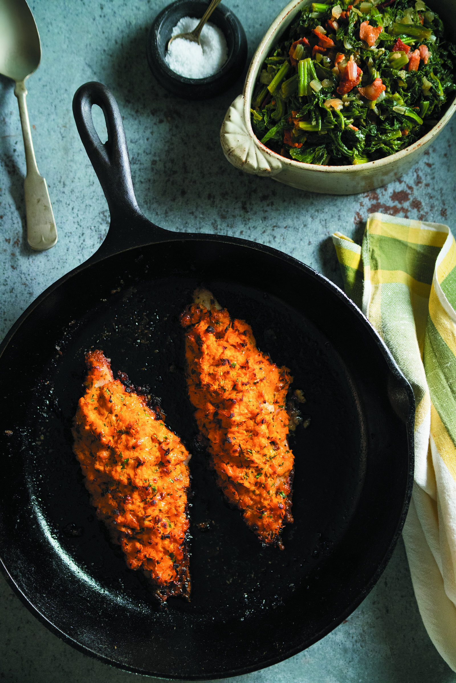Sweet Potato Crusted Catfish with Braised Bacon Mustard Greens -