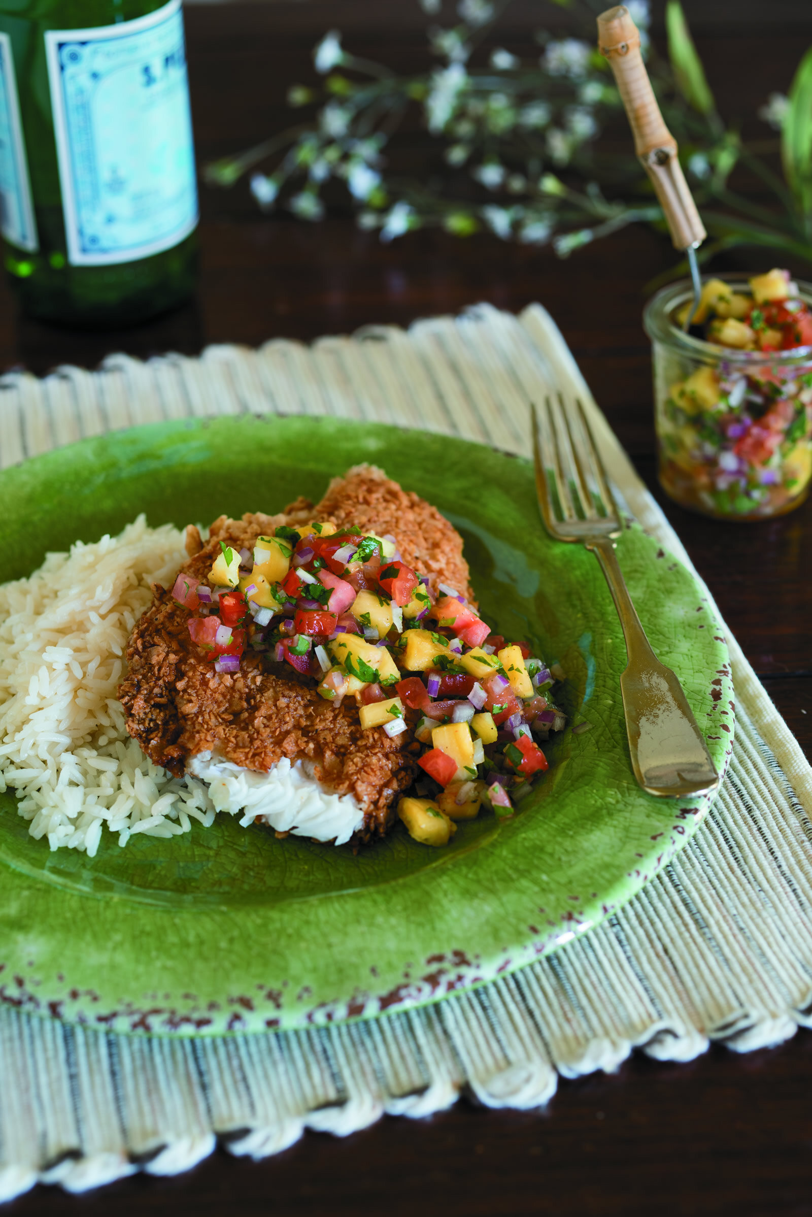 Tortilla-Crusted Catfish with Pineapple Salsa -