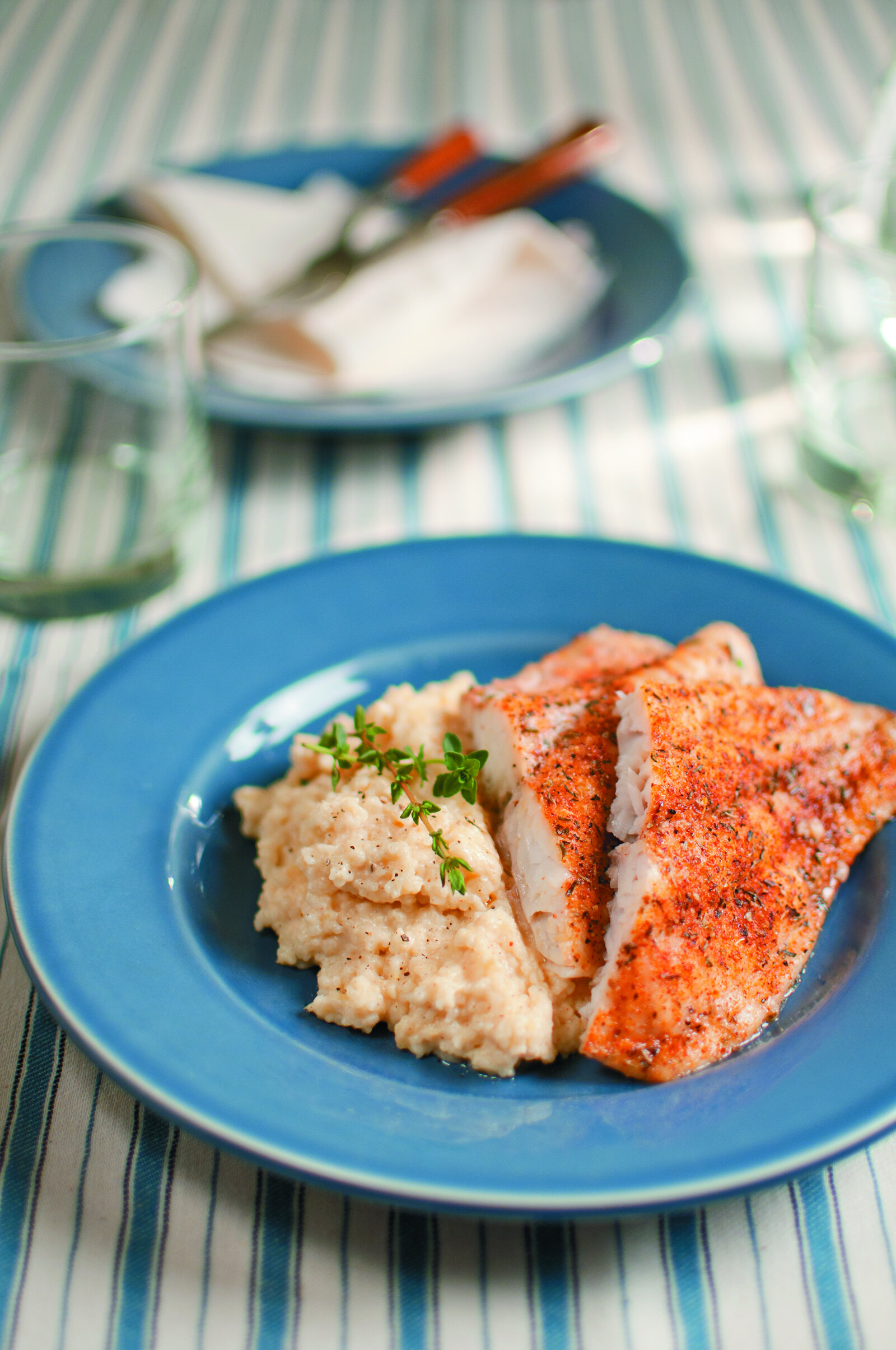 Oven-Baked Blackened Catfish & Savory Cheese Grits -