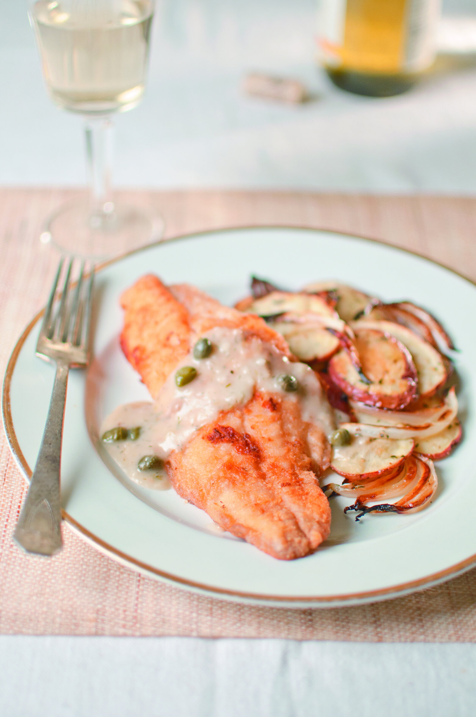 Catfish with Caper & Dill Sauce and Rosemary Potatoes -