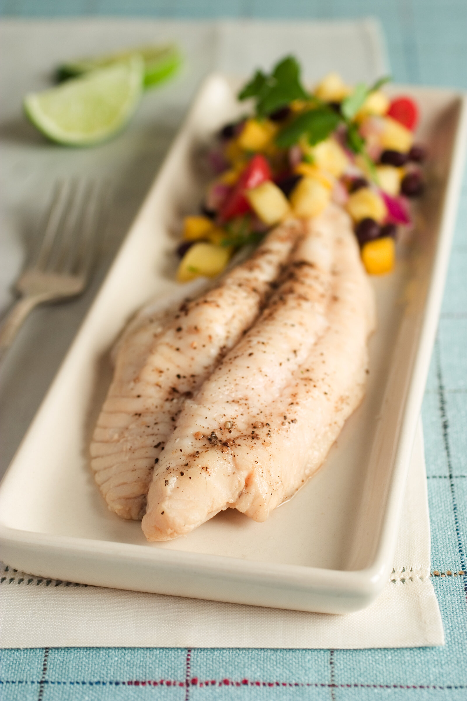 Poached Catfish with Fresh Mango Salsa -