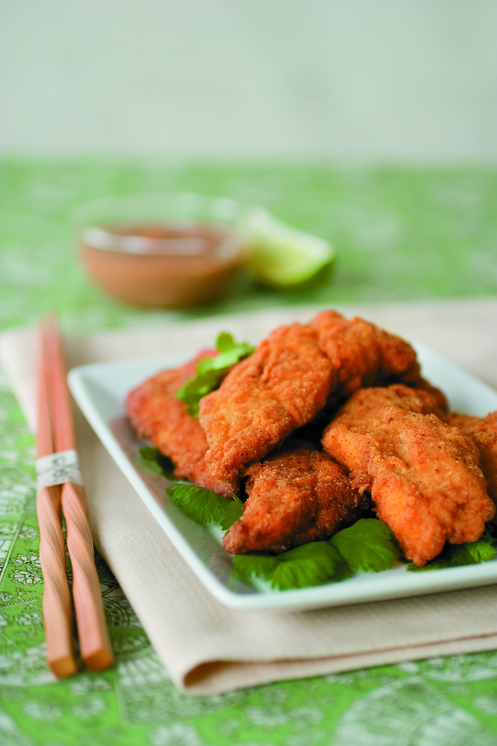 Spicy Catfish Strips with Thai Peanut Dipping Sauce -