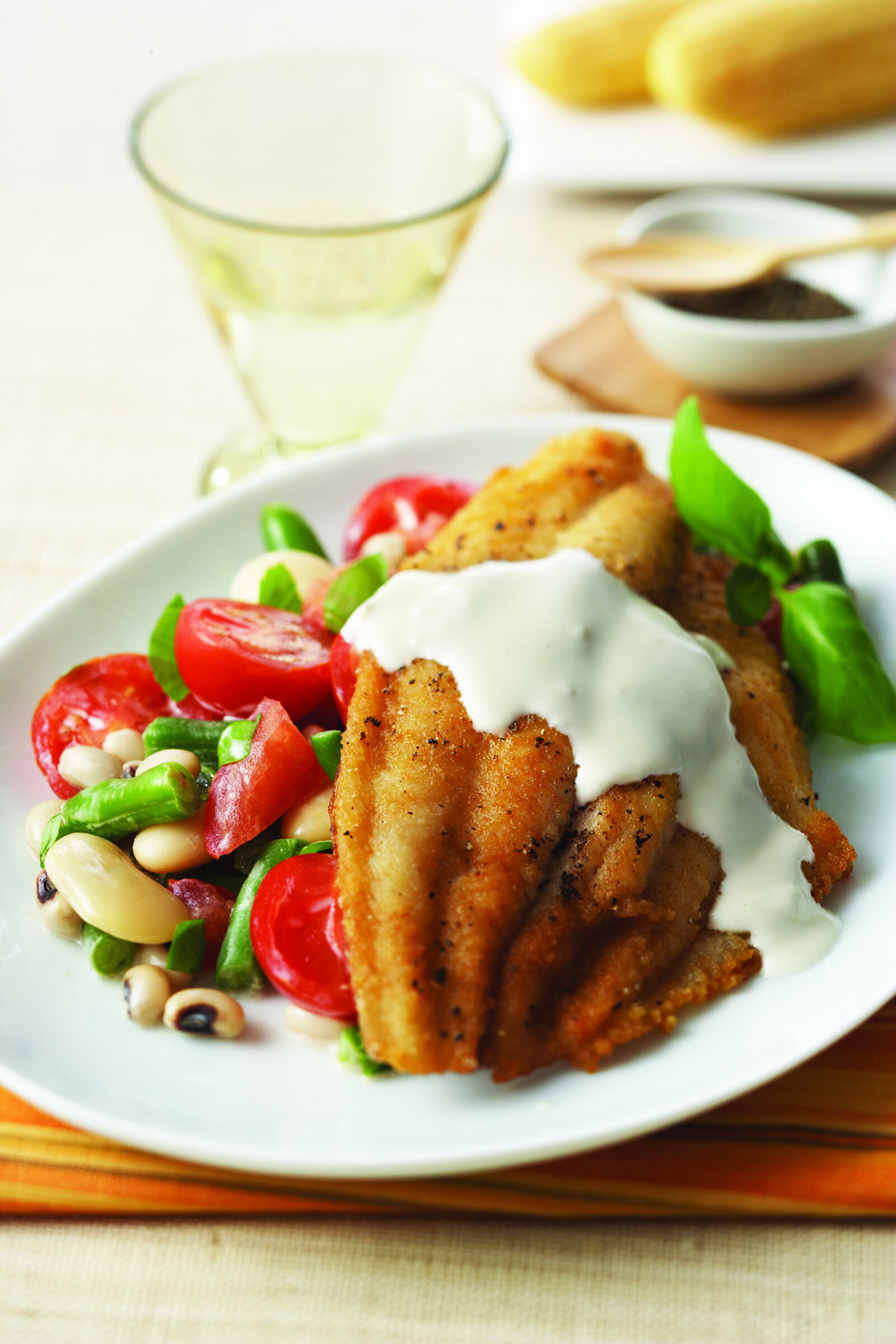 Crispy Fried Catfish with Tomato-Field Peas and Garlic Mayonnaise -