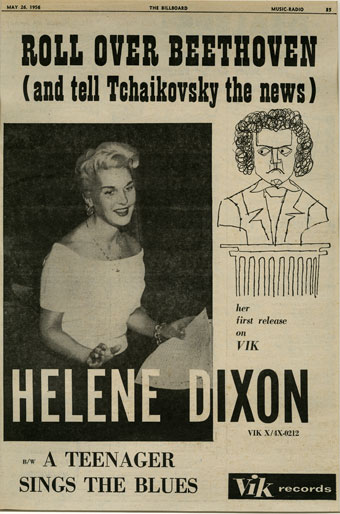 """""""Roll over Beethoven (and tell Tchaikovsky the news)""""; Advertisement from Billboard Magazine, January 26, 1956, about a recording by the teenage singer Helene Dixon"""