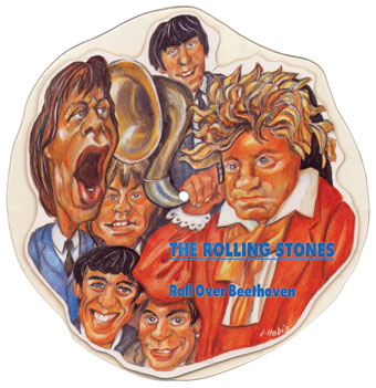 """The Rolling Stones, """"Roll over Beethoven,"""" cover art by J. Habig"""