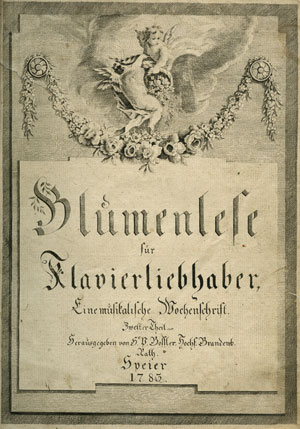 """""""Schilderung eines Mädchen,"""" WoO 107  First edition of Beethoven's song composed when he was twelve and published in the collection  Blumenlese für Klavierliebhaber  by Bossler in Speyer in 1783. The collection also contains Beethoven's Rondo in C Major, WoO 48. Gift of the American Beethoven Society, 2004"""