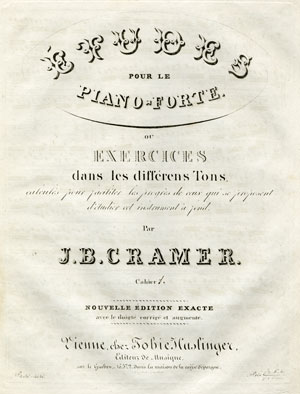 Fortepiano Studies by Johann Baptist Cramer  Cramer originally published his fortepiano studies in 1804. This new, revised edition was published by Tobias Haslinger in Vienna in 1821. Gift of the American Beethoven Society, 1994