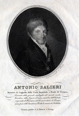 Antonio Salieri (1750-1825)  Portrait engraving by A. Ehrenreich based on a painting by Natale Schiavoni, published in Vienna by S.A. Steiner & Comp. and printed as a frontispiece for volume 3 of the  Allgemeine musikalische Zeitung, 1819. Gift of the American Beethoven Society, 2004