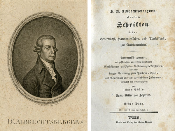 J.G. Albrechtsberger's sämmtliche Schriften über Generalbass, Harmonie-Lehre, und Tonsetzkunst(J.G. Albrechtsberger's Collected Writings on Thoroughbass, Harmony, and Composition),  published in 3 volumes in Vienna by Anton Strauss, 1826.  Gift of the American Beethoven Society
