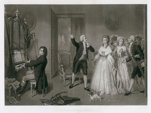 """Engraving of """"Beethoven chez Mozart"""" by Paul Allais from a painting by H. Merle; engraved by Alfred Chardon, Paris; published by Bulla frères, Paris, and L.T. Neumann, Vienna, 1858"""