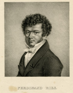 Ferdinand Ries (1784-1838) .  Portrait lithograph, ca. 1830  Gift of the American Beethoven Society, 2008