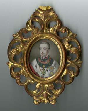 Archduke Rudolph (1788-1831)  Portrait miniature by Adalbert Suchy, oil on ivory,  Gift of the American Beethoven Society, 2006