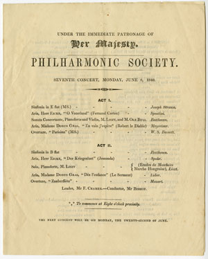 """Original concert program for the Philharmonic Society, London, June 8, 1840  Gift of the American Beethoven Society, 2004This program included a performance by Franz Liszt and the violinist Ole Bull (1810-1880) of Beethoven's """"Kreutzer"""" Sonata, Opus 47. Also on the program was Beethoven's Symphony in B-Flat Major, Opus 60."""