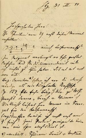 Signed autograph letter from Hans von Bülow to an unidentified recipient in Heidelberg