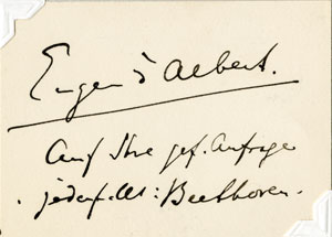 Autograph letter from Eugen d'Albert to Herr Kraus, Coburg, April 26, 1886  Gift of the American Beethoven Society, 2010 [m2b030]