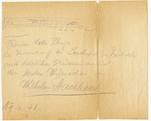 In this autograph, Backhaus transcribes the opening of Beethoven's Fifth Fortepiano Concerto.