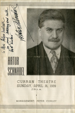 Artur Schnabel (1882-1951), student of Leschetizky, a student of Czerny  Autographed program for an all-Beethoven concert at the Curran Theater, San Francisco, April 16, 1939 Gift of the American Beethoven Society, 2008