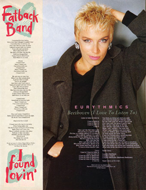 """Magazine advertisement for Eurythmics, """"Beethoven (I Love to Listen To)"""""""