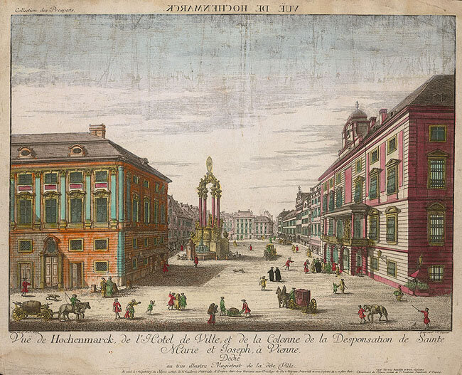 Engraving of the Hohe Markt by Johann Emanuel Fischer von Erlach engraved by Johann Sigrist, ca. 1720, Augsburg, Akadamie Imperiale d'Empire des Arts liberaux, Gift of the American Beethoven Society, 2007