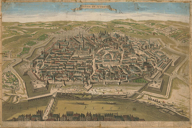 Hand-colored engraving of a general view of Vienna engraved by chez Daumont in Paris, ca. 1780; Gift of the American Beethoven Society, 2005