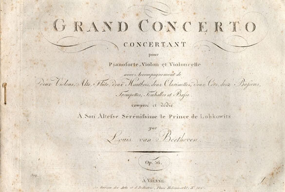 First edition of the complete sets of parts for the Triple Concerto for Fortepiano, Violin, and Cello, Opus 56, published by the Bureau des arts et d'Industrie in Vienna, 1807; Gift of American Beethoven Society member Vance Carney, 1996
