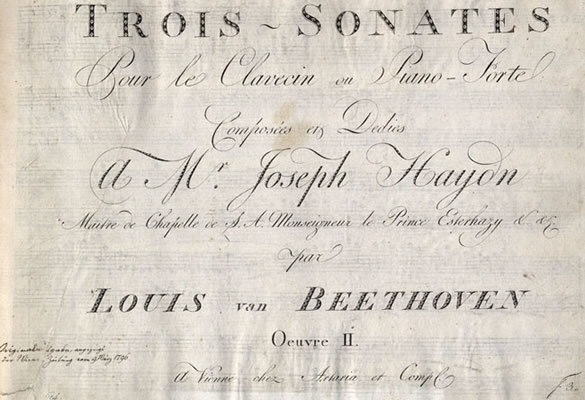 Publisher's proof of the first edition of the Sonatas for Fortepiano, Opus 2, nos. 1-3, containing engraving errors that were corrected in later copies, 1795; Gift of Ira Brilliant, 1991
