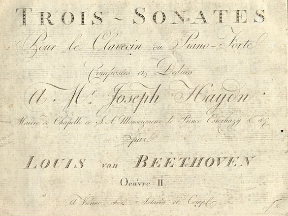 First edition, first issue, of the Sonatas for Fortepiano, Opus 2, nos. 1-3, containing printed corrections marked by Beethoven in his proof copy and issued for sale by Artaria in Vienna, 1796; Gift of the American Beethoven Society in honor of Patricia Stroh, 2005