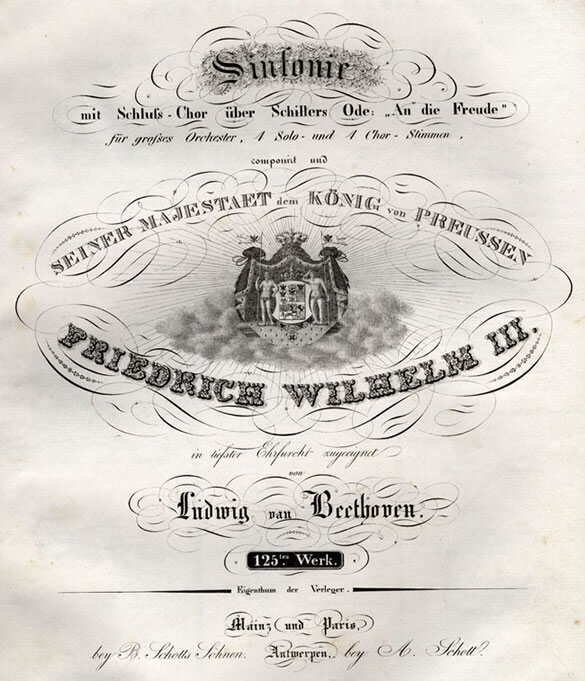 First edition of the Ninth Symphony, Opus 125, including a list of subscribers, published by Schott in Mainz and Paris, 1826; Gift of Ira Brilliant, 1985