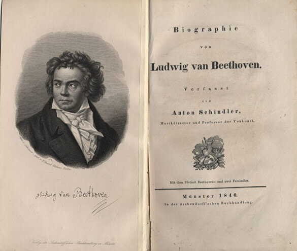 Anton Felix Schindler,  Biographie von Ludwig van Beethoven   ;  First edition of Schindler's biography of Beethoven, published in Münster by Aschendorff, 1840; Gift of the American Beethoven Society, 1993