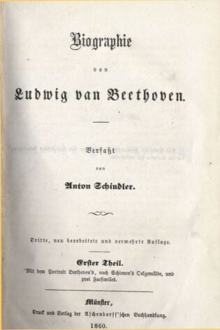 Anton Felix Schindler , Biographie von Ludwig van Beethoven;   Third edition of Schindler's biography of Beethoven, published in two volumes in Münster by Aschendorff, 1860; Gift of the American Beethoven Society, 1991