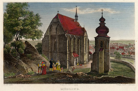 Steel engraving of Mödling by J. Axman based on a drawing by Rudolf Alt,printed by F.A. Zehl in Leipzig for Eduard Duller's  Die malerischen und romantischen Donauländer,  published by Wigand in Leipzig, 1838-1840; Gift of the American Beethoven Society, 1999