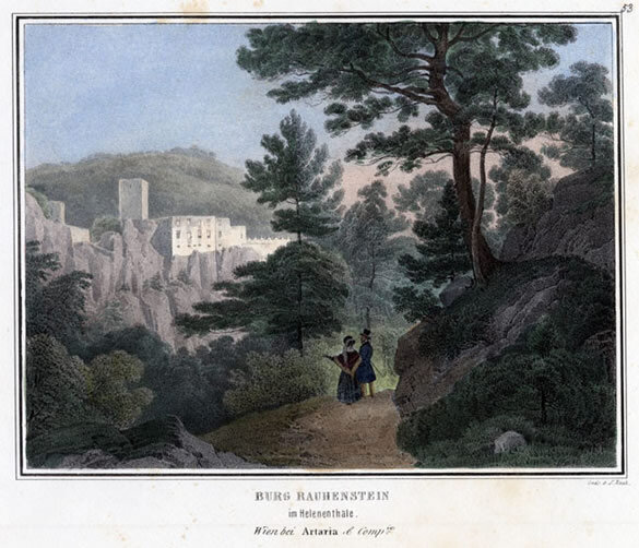 "Color lithograph of the ""Burg Rauhenstein im Helenenthale"" by Rothmüller based on a drawing by J. Höger, printed by J. Rauh and issued in Vienna by Artaria, 1842; Gift of the American Beethoven Society, 1999"
