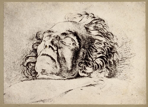"""Beethoven on his Deathbed,"" based on a drawing by Carl Danhauser, printed in Berlin by the Music-Verlag Carl Simon, 1881; Gift of the American Beethoven Society, 2010"