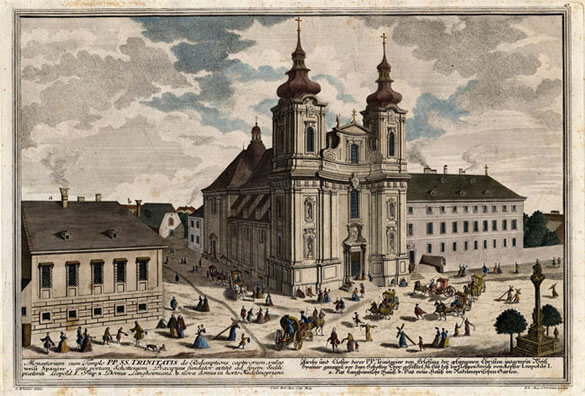 Hand-colored copper engraving of the Trinity Church by Johann August Corvinus based on a drawing by S. Kleiner, printed by Pfeffel between 1730-37; Gift of the American Beethoven Society, 2009