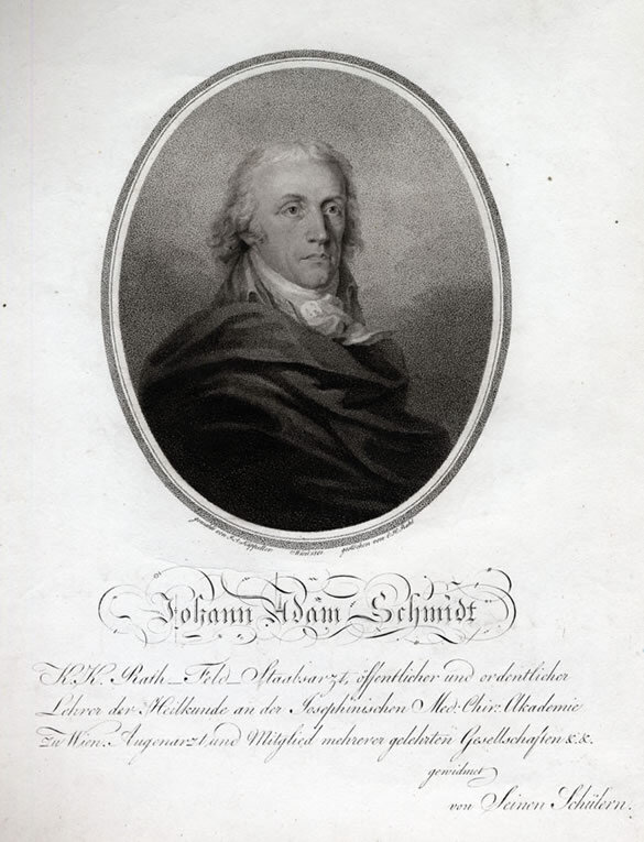 Engraving of Dr. Johann Adam Schmidt by Carl Heinrich Rahl after a painting by Josef Kapeller , 1801 (from the collection of Dr. Romeo Seligmann); Gift of ABS members Paul and Joan Kaufmann in honor of William Meredith, 2009