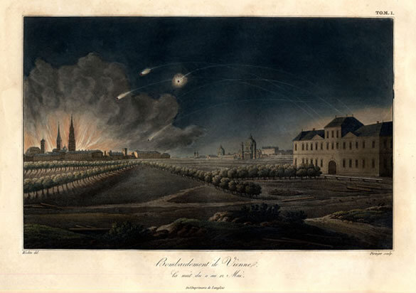 "Aquatint engraving, ""Bombardment of Vienna on the night of the 12th of May [1809],"" by Piringer after a drawing by Johann Nepomuk Höchle published by Langlois in Paris, 1822; Gift of the American Beethoven Society, 2010"