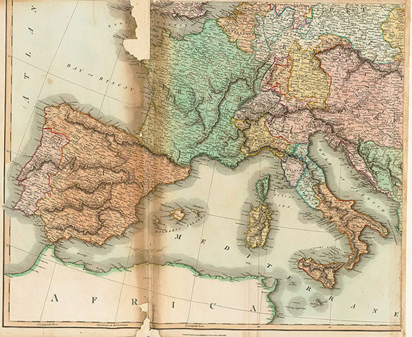 """Europe after the Congress of Vienna. A Map of Europe with Political Divisions,"" Section 2, lower left quadrant: Continental Europe, printed by W. & D. Lizars in Edinburgh, 1817 for John Thomas's  New General Atlas;  Gift of the American Beethoven Society, 2004"