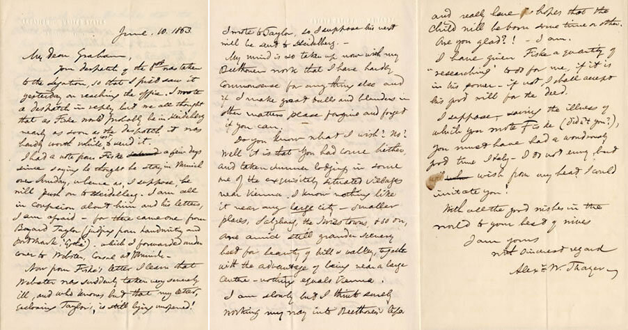 Letter from Thayer to Graham, Vienna, June 10, 1863;  Gift of the American Beethoven Society, 2009    READ COMPLETE TRANSCRIPTION