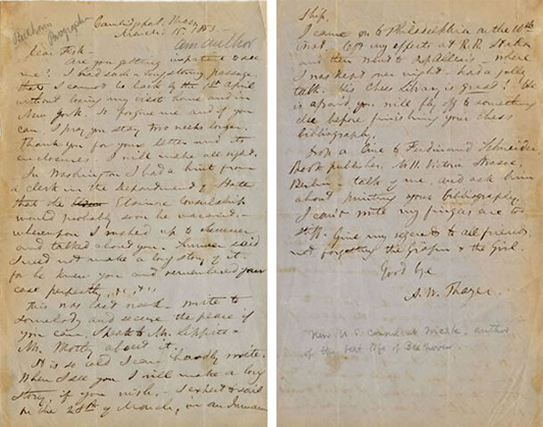 Letter from Thayer to Daniel Willard Fiske, Cambridge, Mass., March 15, 1863; Gift of the American Beethoven Society, 2000   READ COMPLETE TRANSCRIPTION