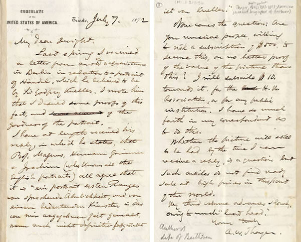 Letter from Thayer to J.S. Dwight, Trieste, July 7, 1872; Gift of the American Beethoven Society, 2000   READ COMPLETE TRANSCRIPTION