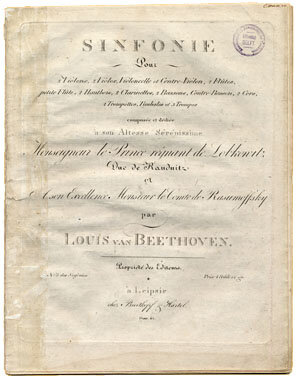 First edition of the parts for the Fifth Symphony, Opus 67, published in Leipzig by Breitkopf & Härtel in Leipzig, 1809; Gift of Ira Brilliant, 2002