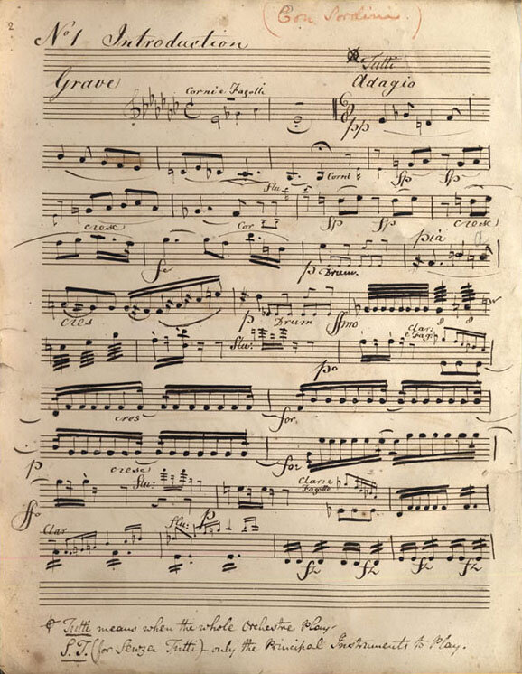 "Christus am Ölberge , English version as ""The Mount of Olives,"" manuscript parts for the first English performances by Sir George Smart at the Drury Lane Theater, London, in 1814; The German text was replaced by an English-language version that eliminates the singing role of Jesus.; Gift of the American Beethoven Society, 1995"