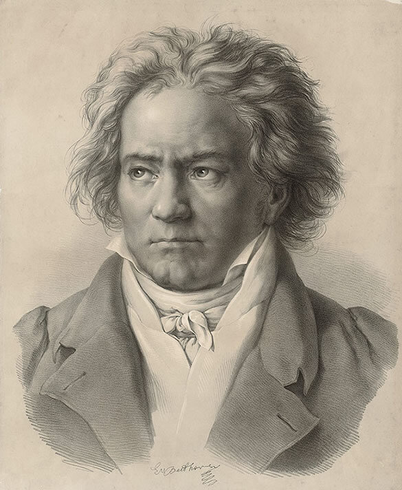 Lithograph of Beethoven in 1818 by August Kloeber engraved by C. Fischer (1843); Gift of the American Beethoven Society, 1998